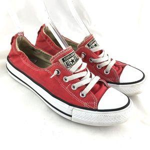 Slip on shoes sneaker red canvas elastic Shoreline